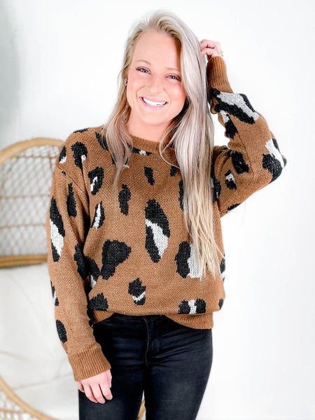 PLUS/REG Long Sleeve Leopard Print Crew Neck Sweater