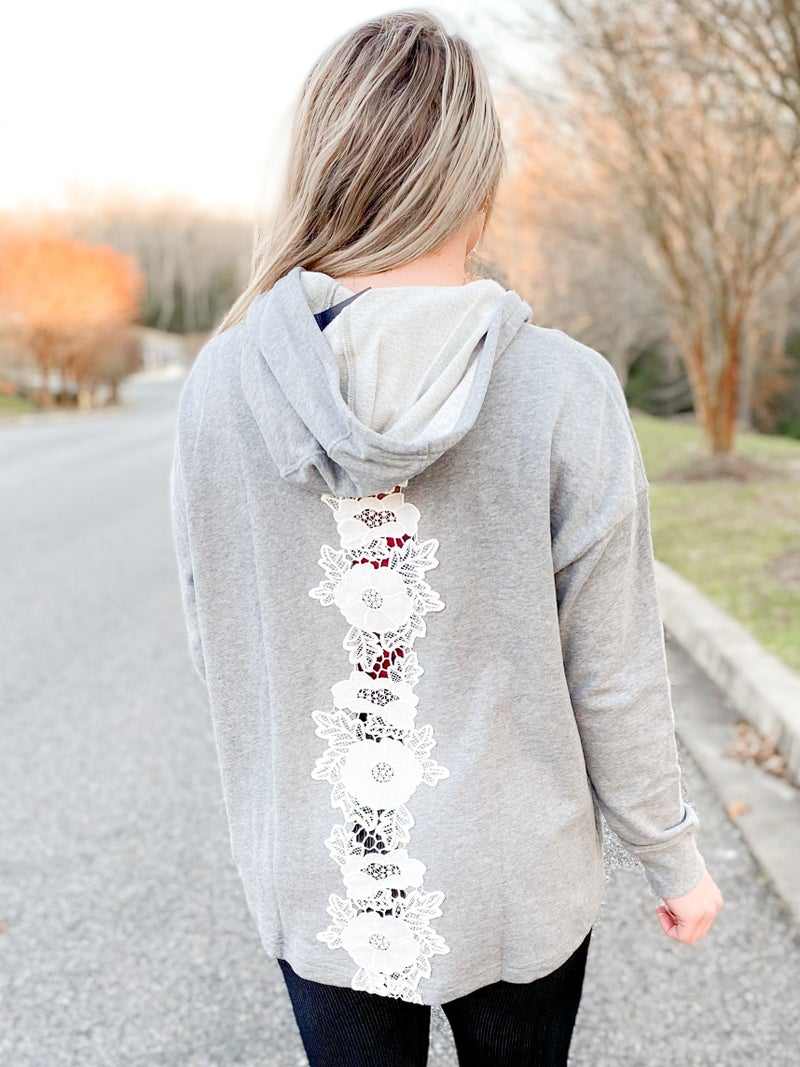 PLUS/REG Gray Heather Hoodie With Lace Back Detail