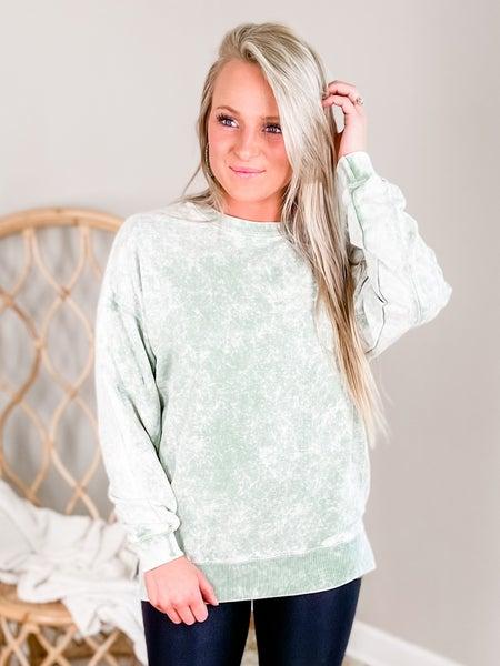 PLUS/REG Sage Long Sleeve Mineral Wash Sweatshirt