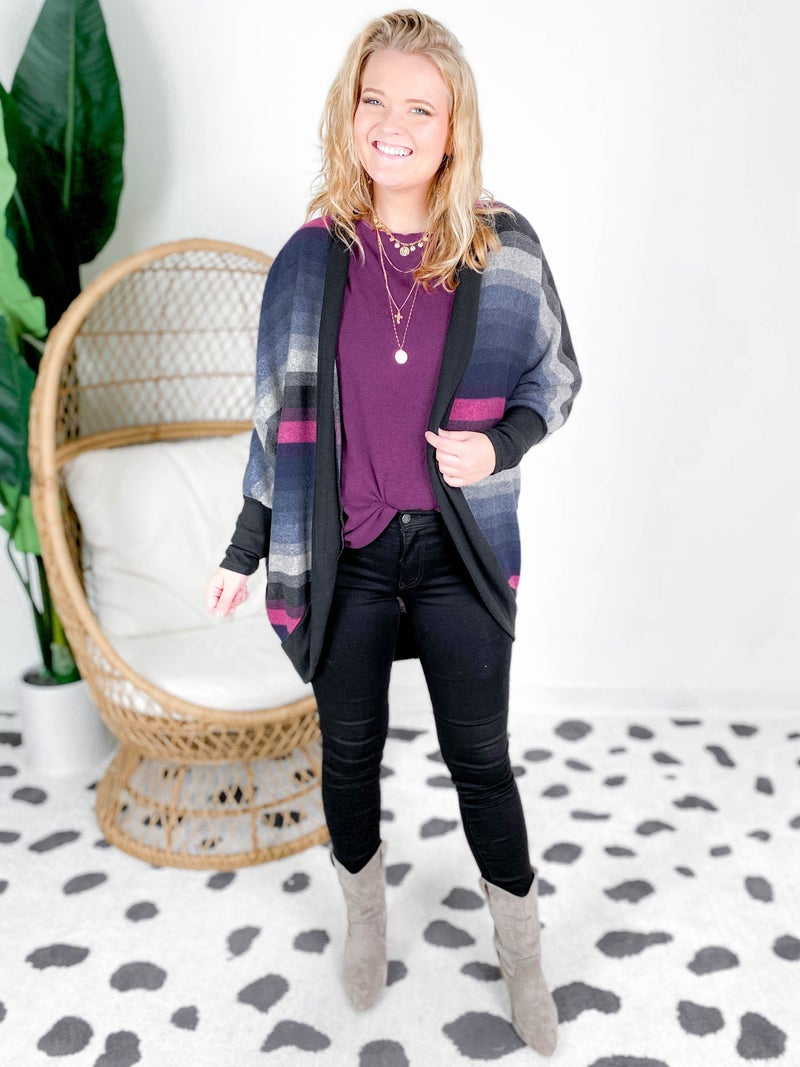 Multi Color Striped Open Cardigan With Dolman Sleeves