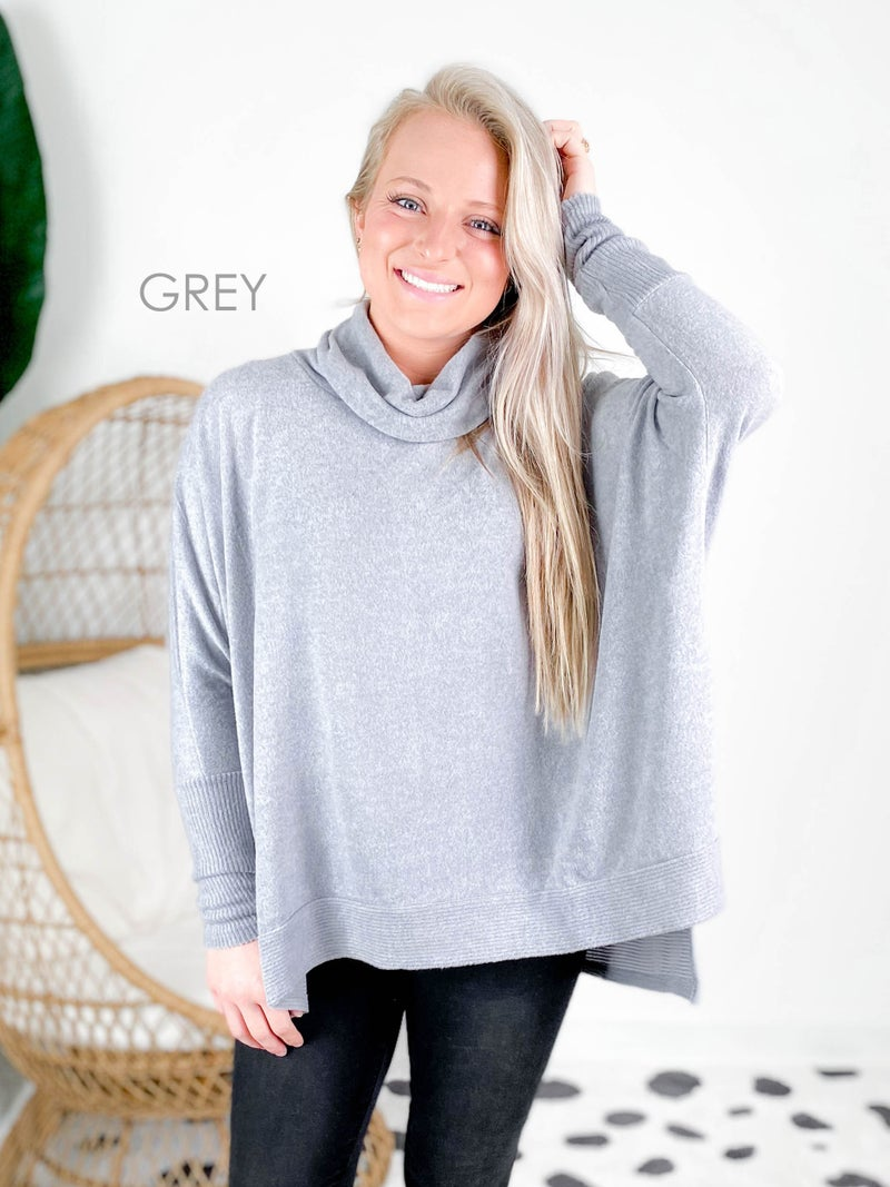 Door Buster! PLUS/REG Zenana Cowl Neck Poncho Sweater (Multiple Colors)