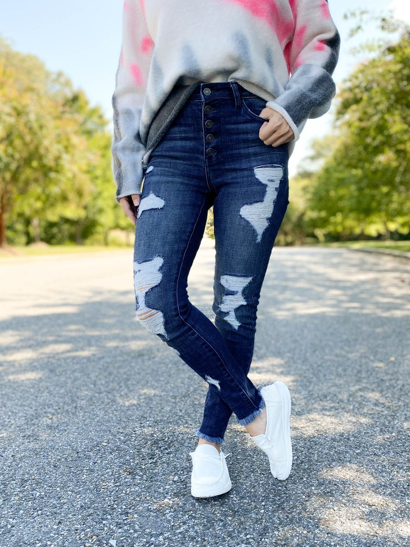 KanCan In a Mood High Rise Button Fly Distressed Skinny Jean