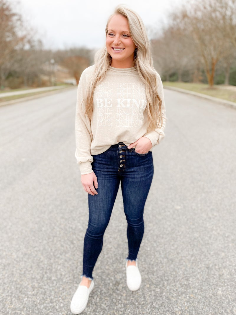 PLUS/REG Be Kind Oatmeal Graphic Sweatshirt