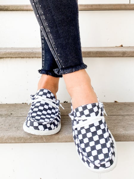 Black & White Checkered Hey Girl Sneakers