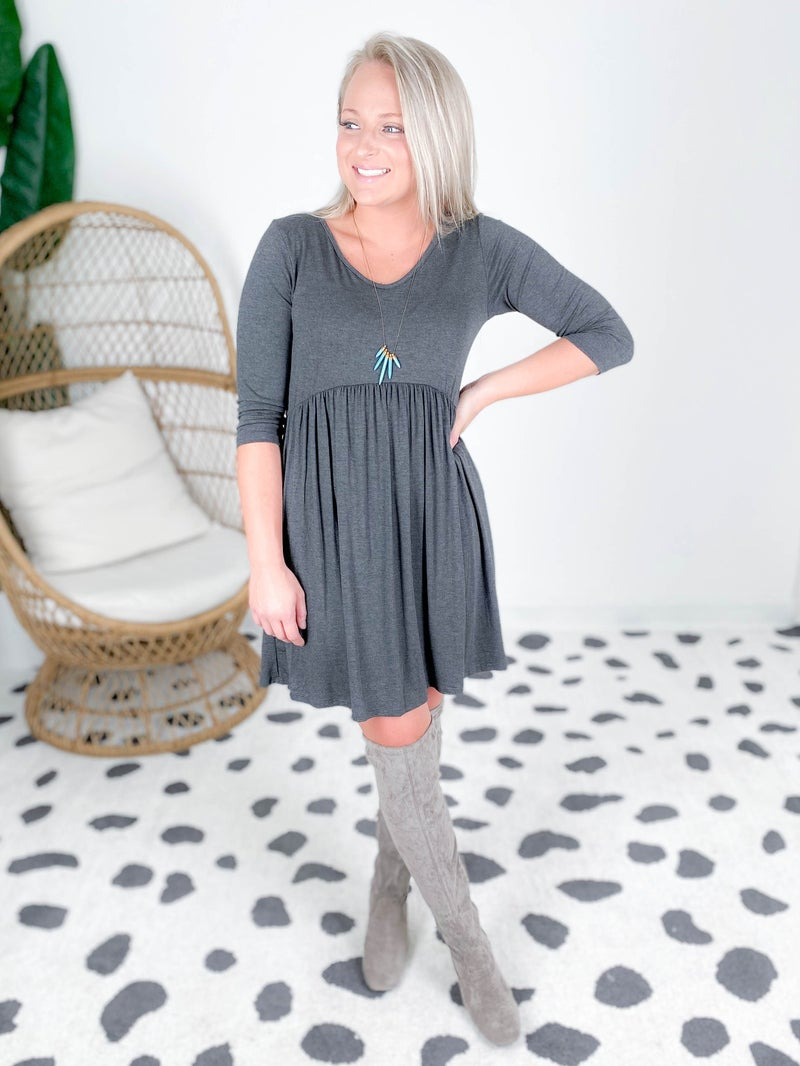 Three Quarter Sleeve Babydoll Dress (Multiple Colors)