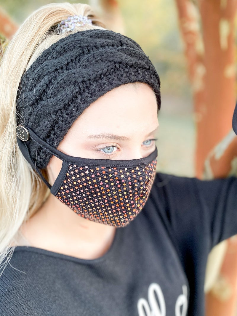 POPPY DAY! Ribbed Knit Headband with Face Mask Button (Multiple Colors)