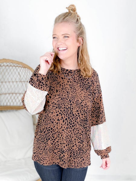 PLUS/REG Honeyme Brown Leopard Top With Sequin Long Sleeve Detail