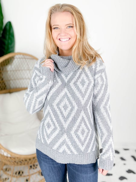 Cowl Turtle Neck Top With Diamond Detail (Multiple Colors)