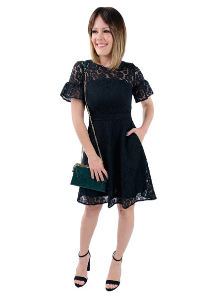 Black Floral Lace Flare Dress