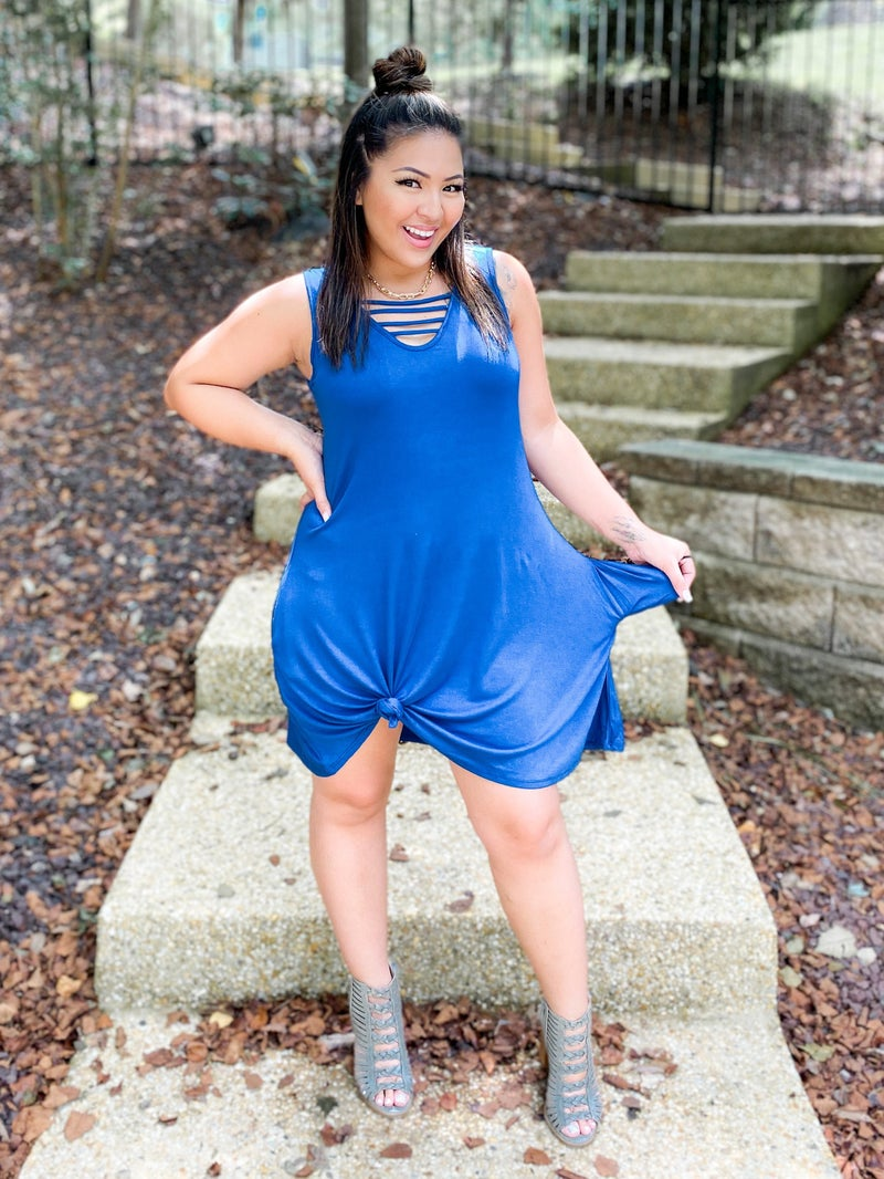 PLUS/REG Sleeveless A-Line Dress with Strappy Neckline (Multiple Colors)