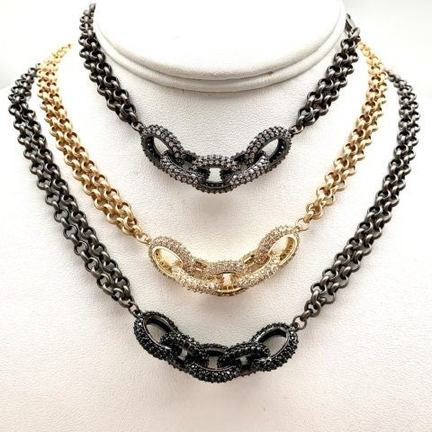 Karli Buxton Pave Chain Link Choker Necklace (Multiple Colors)
