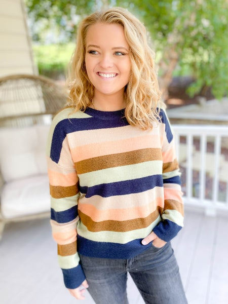 Autumn Stripe Sweater with Patch Elbows