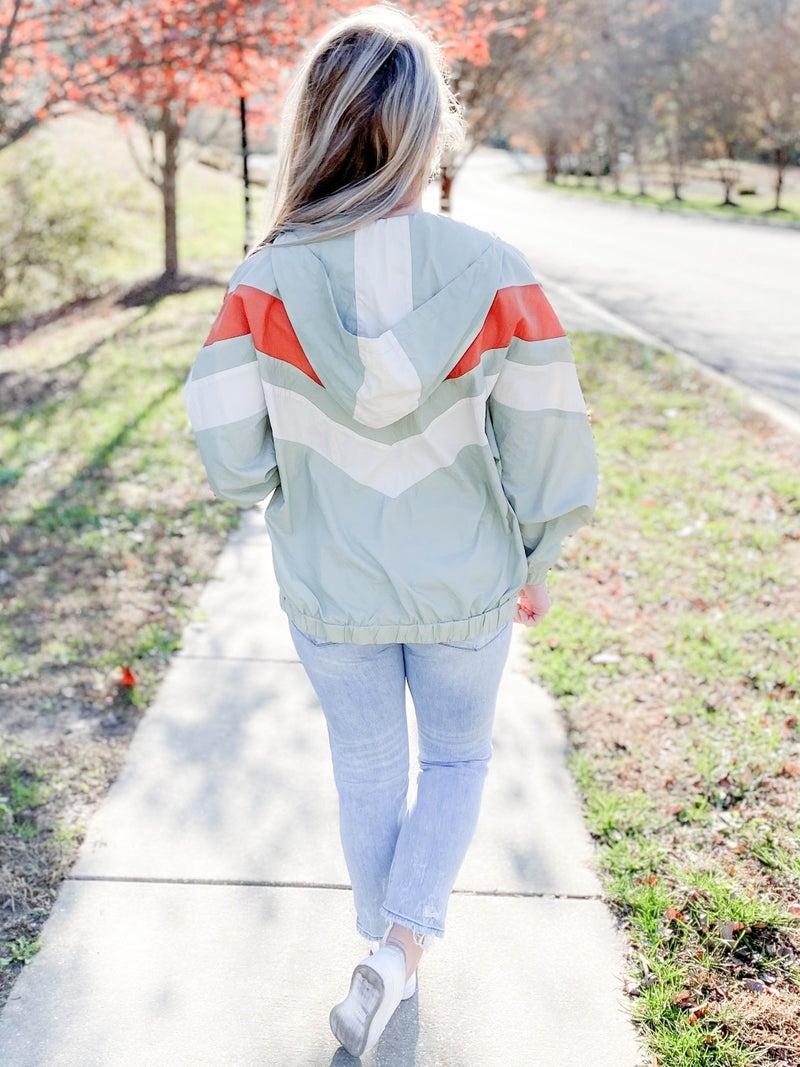 Chevron Hooded Windbreaker Jacket (Multiple Colors)