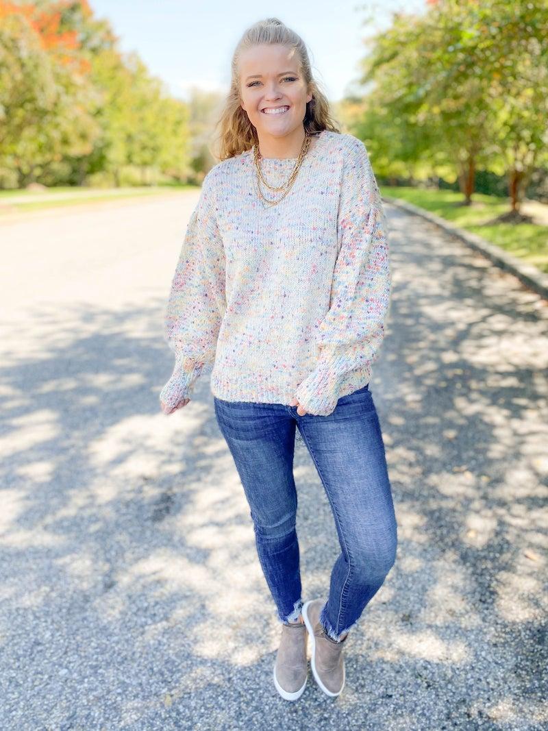 Funfetti Oversize Bubble Sleeve Sweater