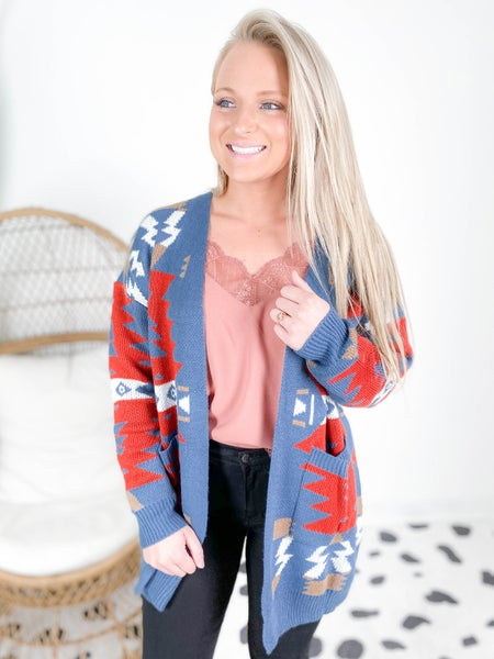 PLUS/REG Red & Blue Aztec Long Open Cardigan