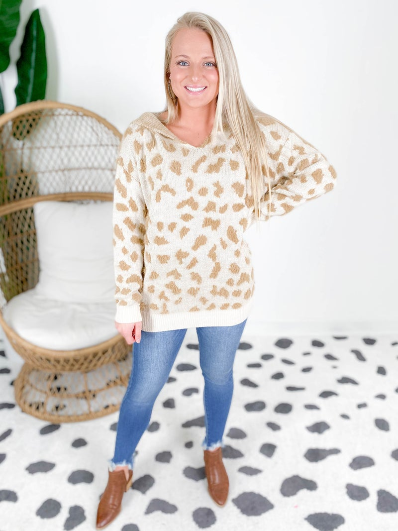 Fuzzy Leopard Hooded Sweater (Multiple Colors)