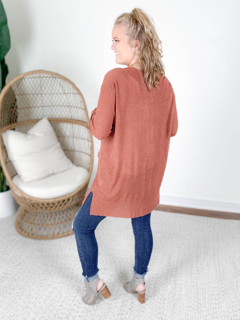 NEW COLOR!!!!! Long Sleeve Boucle Open Cardigan with Pockets (Multiple Colors)