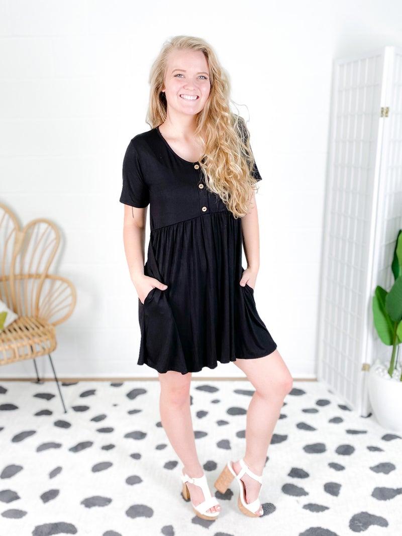 PLUS/REG Button Front Babydoll Dress