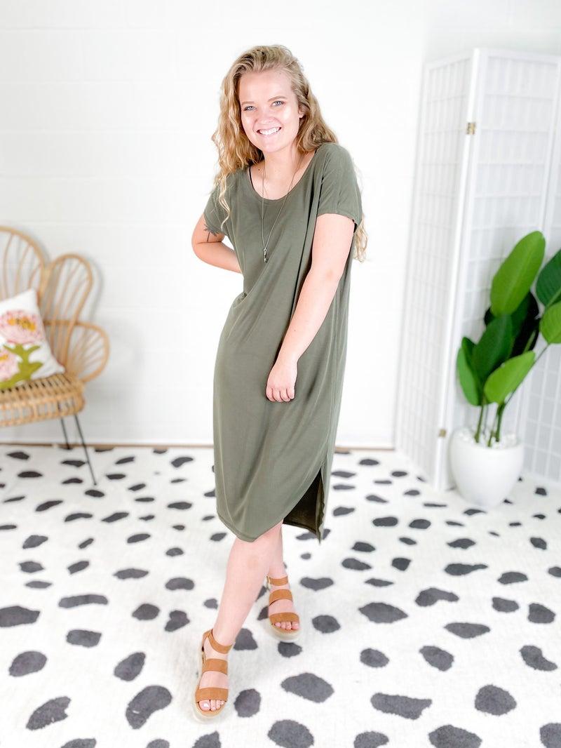 DOORBUSTER Drop Shoulder Curved Hem Dress (Multiple Colors)