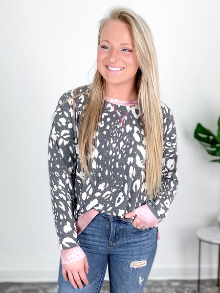PLUS/REG Honeyme Charcoal & Pink Leopard Top