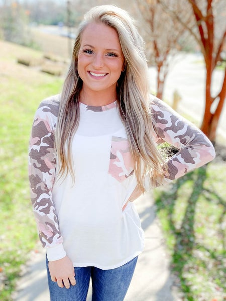 PLUS/REG Solid & Camo Print Contrast Top (Multiple Colors)