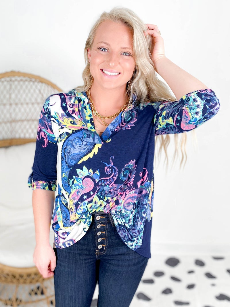 PLUS/REG SEW IN LOVE Multi Color Abtract Paisley V Neck Top
