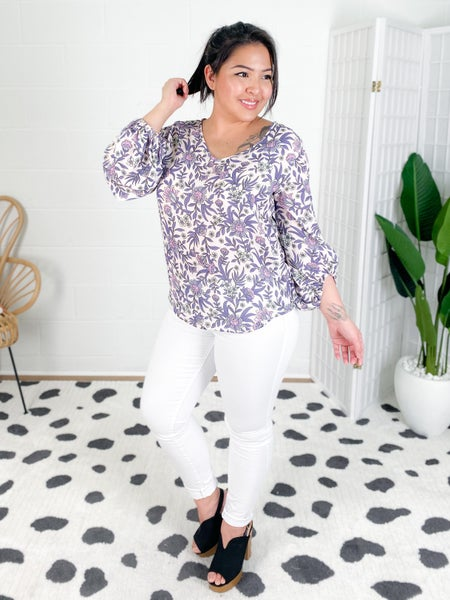 Purple Floral Woven V Neck Top with Balloon Sleeves