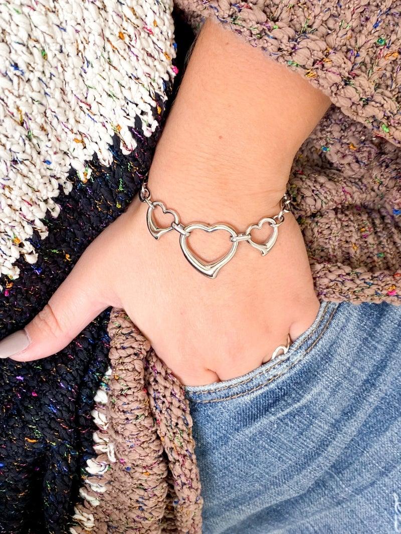 Silver Triple Heart Chain Link Bracelet