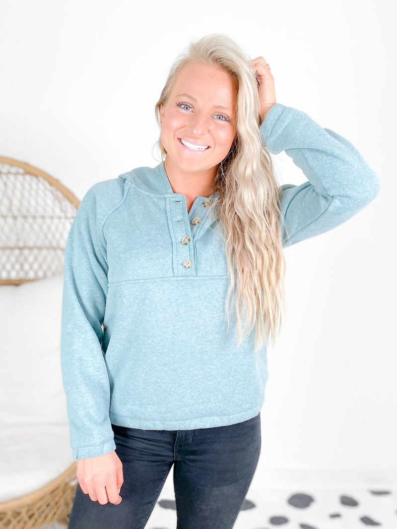 Fleece Lined Button Down Hoodie Pull Over