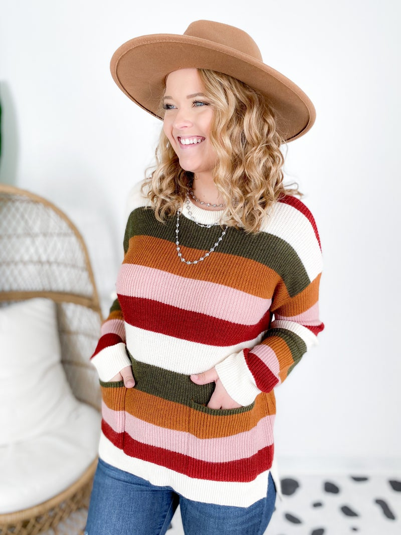 Multi Color Crew Neck Stripe Pocket Sweater