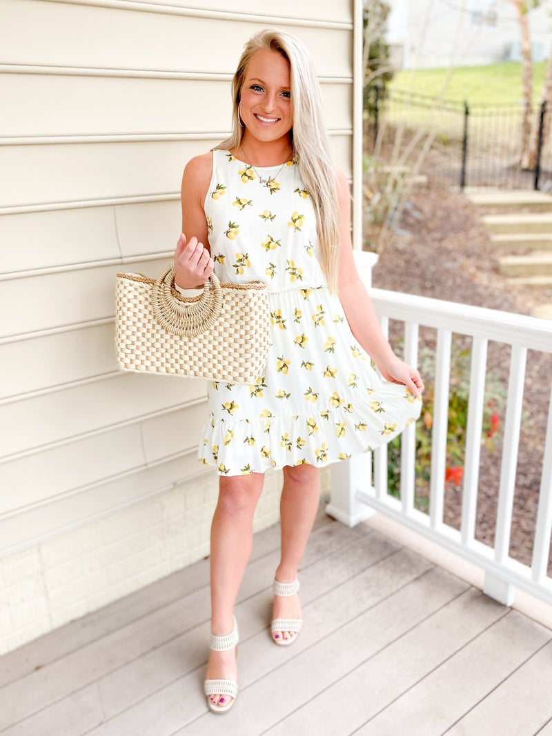 Lemon Print  Round Neck Dress With Ruffle Hem (Multiple Colors)