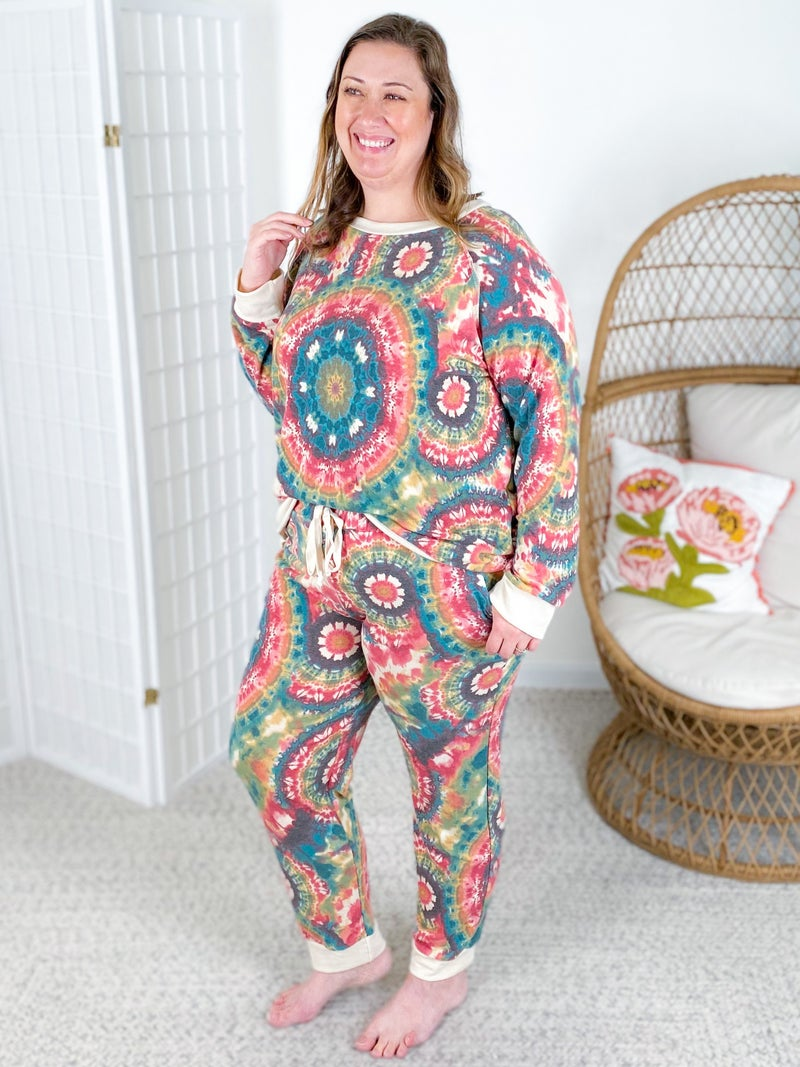 PLUS/REG Honeyme Tie Dye Medallion Long Sleeve Lounge Set with Joggers