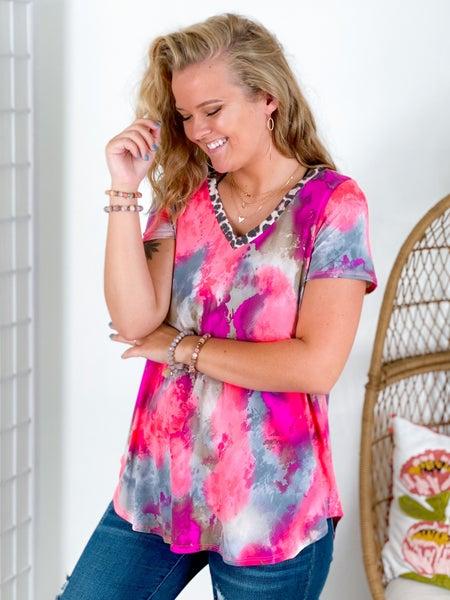 PLUS/REG Honeyme Leopard Trim Pink & Purple Abstract Colors Top