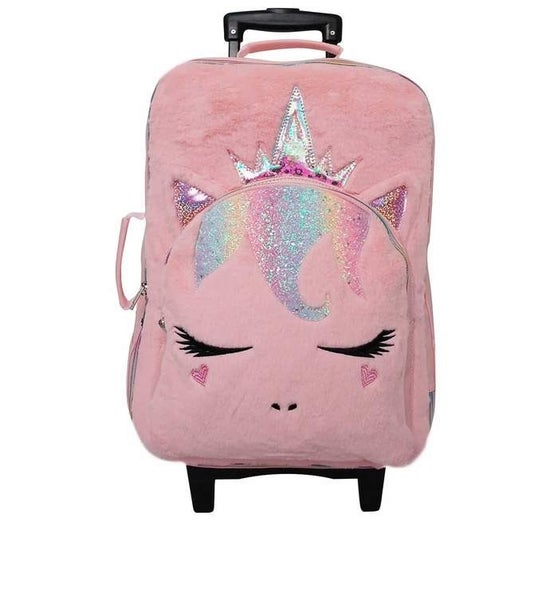 Queen Miss Gwen Plush Pink Carry-On Suitcase