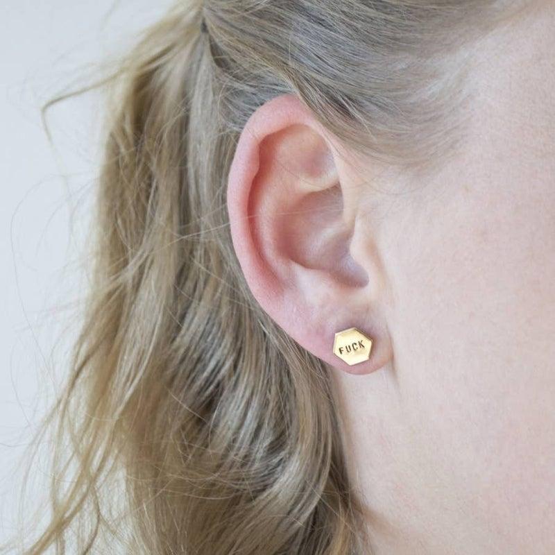 RESTOCKED!! 'Fuck Yeah' Hand Stamped Hexagon Earrings