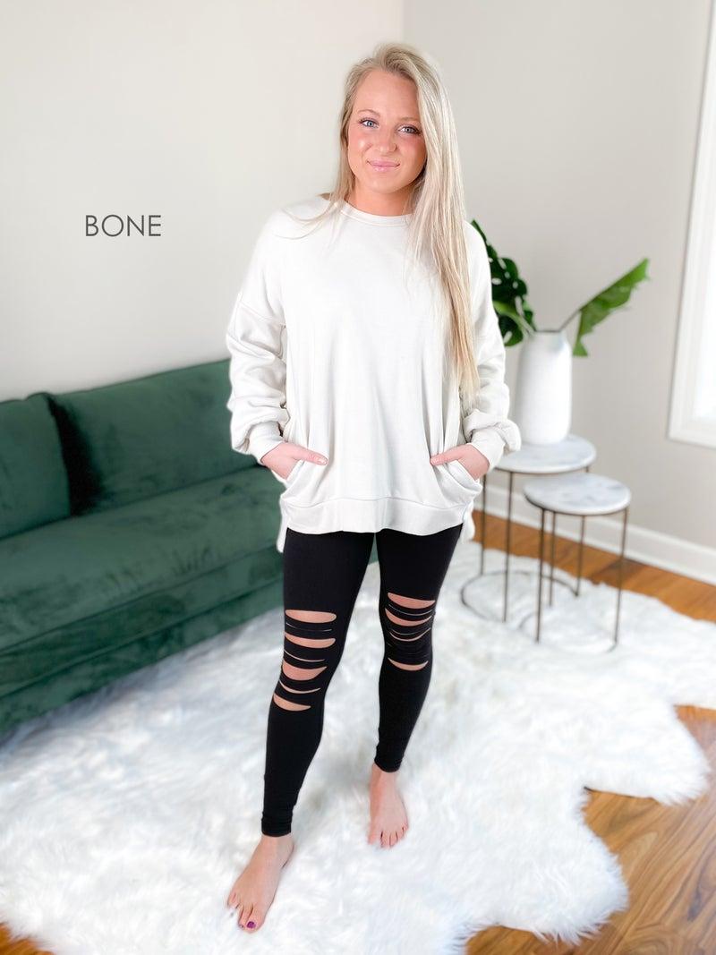 Door Buster! PLUS/REG Zenana High Low Hem Long Sleeve Sweatshirt (Multiple Colors)