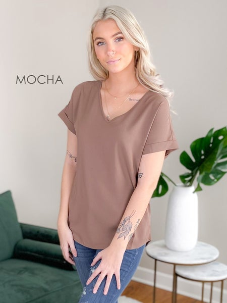 Door Buster! PLUS/REG Zenana Short Rolled Sleeve V Neck Top (Multiple Colors)