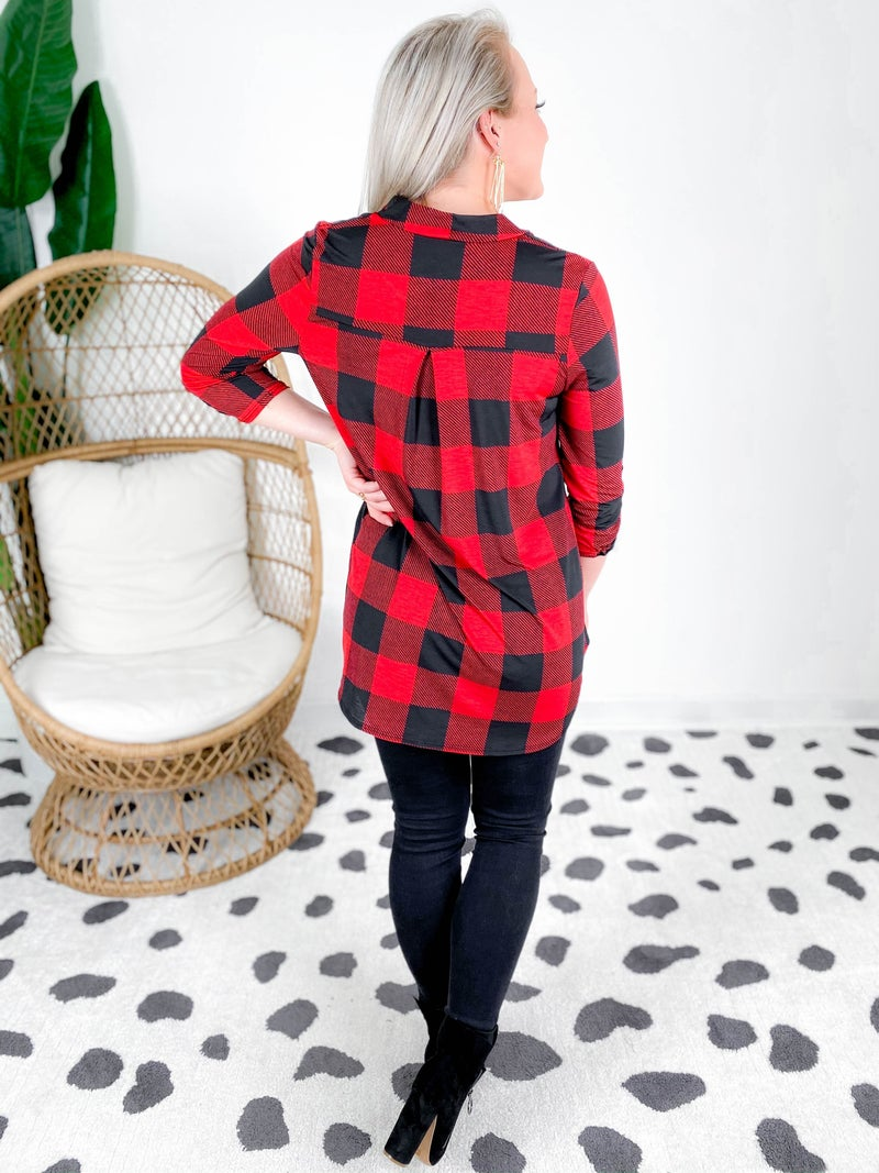 PLUS/REG Honeyme Buffalo Plaid Gabby Top (Multiple Colors)