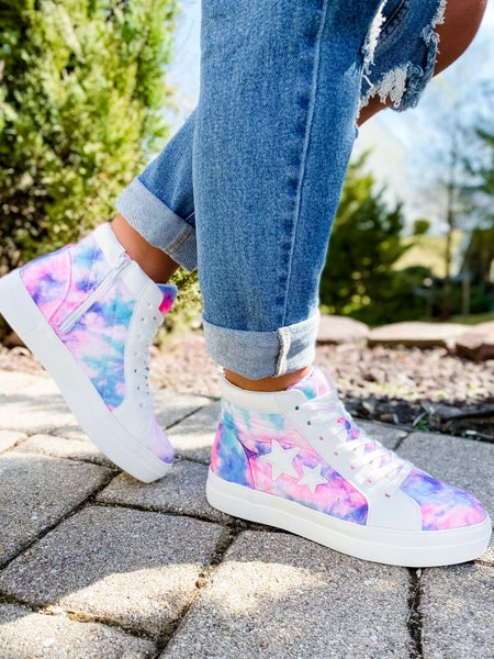 Tye Dye Pink Blue Cotton Candy High Top Sneaker