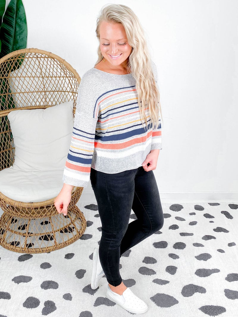 PLUS/REG Long Sleeve Round Neck Top With Multi Color Stripe Detail