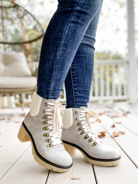 Grey Lace Up Suede Platform Ankle Boots with Chunky Heel