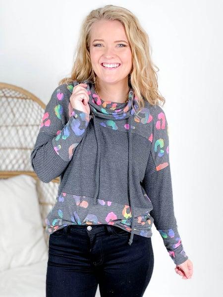 PLUS/REG Long Sleeve Waffle Knit Rainbow Leopard Sweater
