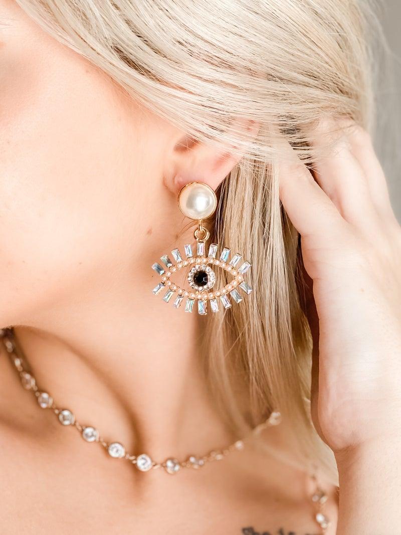 Marli Swarovski Clear Crystal Eyelash & Pearl Accent Earrings