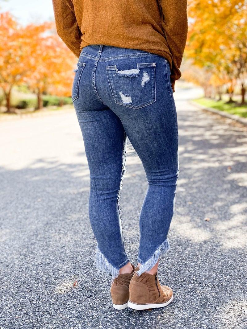 PLUS/REG Judy Blue Shake Rattle Roll Asymmetrical Frayed Hem Skinny Jeans