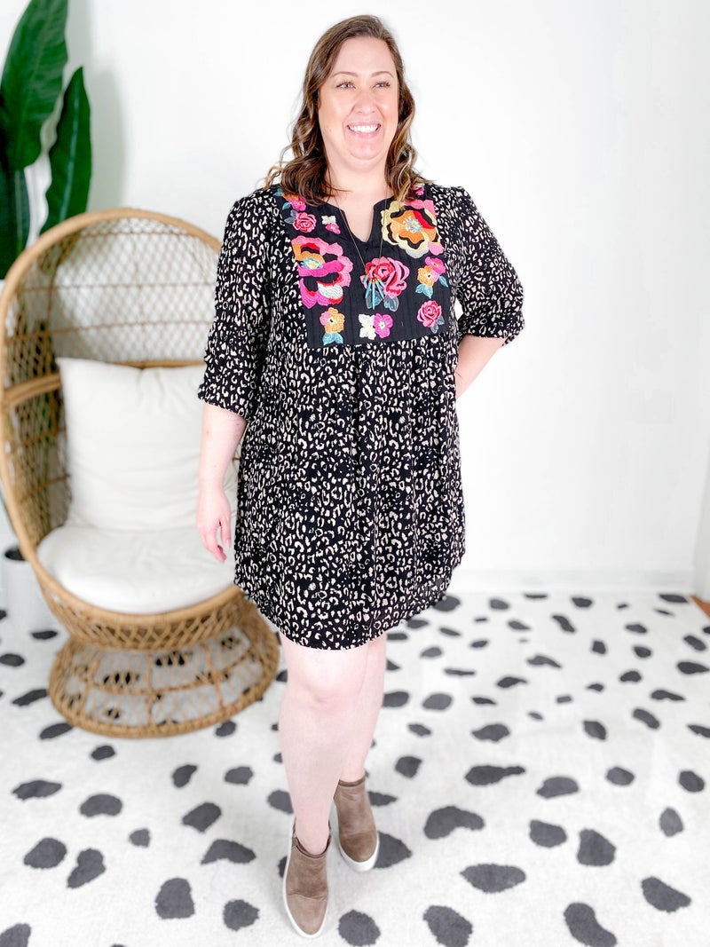 PLUS/REG Leopard Dress With Embroidery Detail