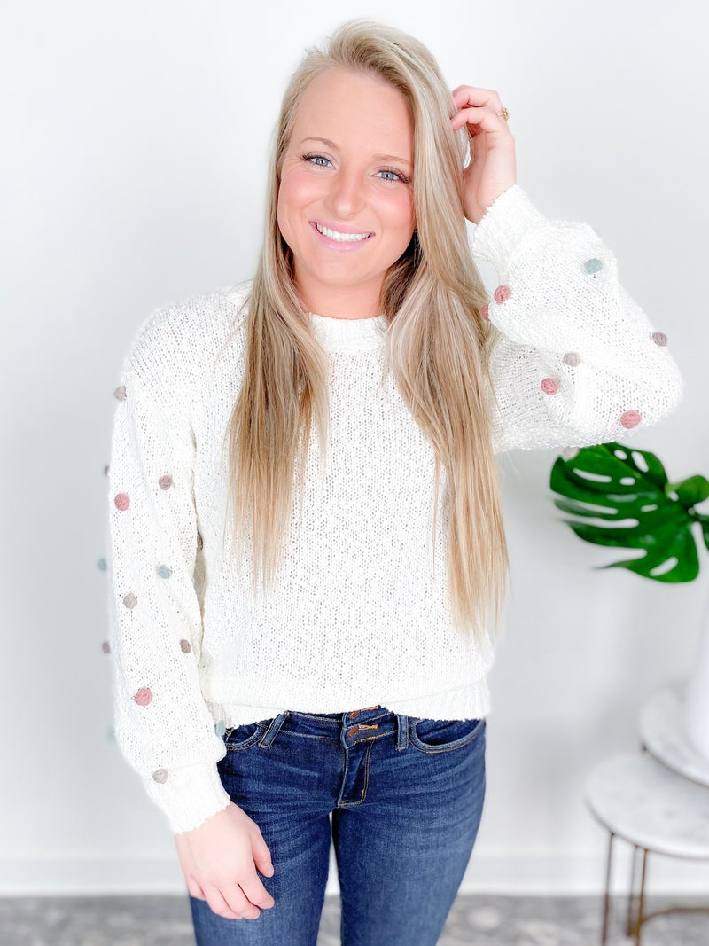 Knit Sweater With Pom Pom Sleeve Accent (Multiple Colors)