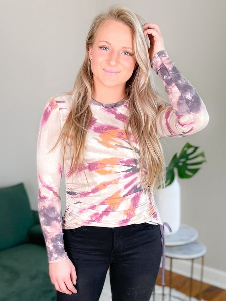 Side Ruched Tie Dyed Print Top