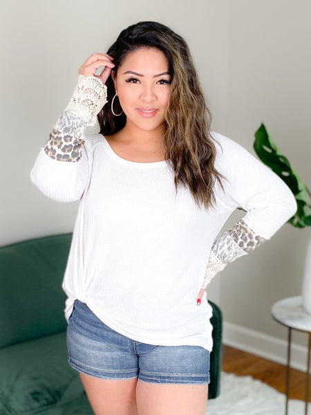 Long Sleeve Waffle Knit Lace Cuff With Leopard Detail (Multiple Colors)