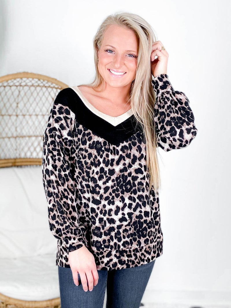 PLUS/REG Honeyme Leopard Top With Gold V Neck Trim
