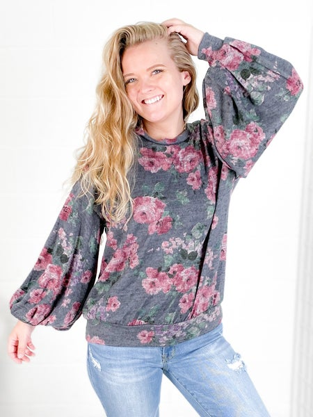 Charcoal Floral Long Balloon Sleeve Top